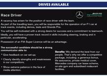 F1, AAA pilota cercasi: l'ironico annuncio della Mercedes