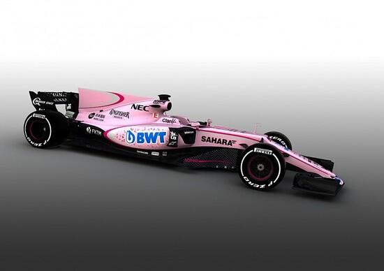 F1: Force India, la VJM10 si veste di rosa